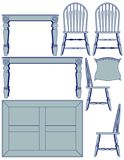 Dining furniture - blueprint Royalty Free Stock Photo