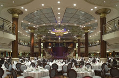 Dining Hall. In a cruise ship Stock Photos
