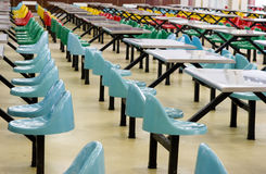 Dining hall. Many colorful chairs and desks in a dining hall ,taken in a univeristiy   in China Stock Image
