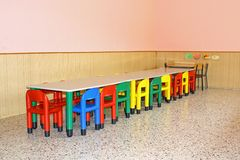 Dining hall for a kindergarten Royalty Free Stock Image