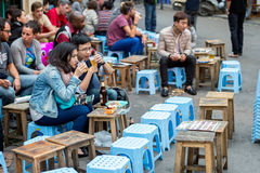 Dining in Hanoi stock photo
