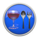 Dining Icon, Spoon, Fork, and Wine Glass Royalty Free Stock Image