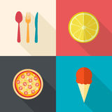 Dining items and food icons. Flat vector illustration stock illustration