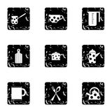 Dining items icons set, grunge style Royalty Free Stock Images