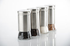 Dining items for spices. And salt, pepper, sugar Royalty Free Stock Photo