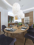 Dining kitchen design in a modern style with a dining table and Royalty Free Stock Photos