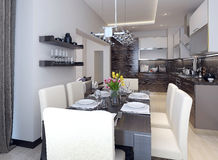 Dining kitchen modern style Stock Images