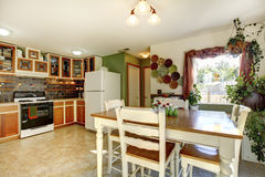Dining and kitchen room interior in family house Stock Photography
