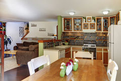 Dining and kitchen room interior in family house Stock Image