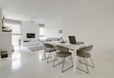 Dining and living room. Image of modern white dining and living room Royalty Free Stock Photo