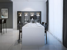 Dining at minimalist kitchen design Royalty Free Stock Photo
