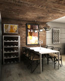 Dining room. A modern interior dining with wine area Stock Photography