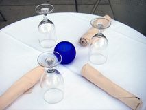 Dining Out. Photo of dining table at an outdoor restaurant seating area stock photos