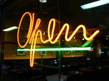Dining Out. Photo of neon sign at a restaurant in Washington D. C stock photography
