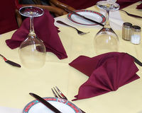 Dining out. Table setting in fish restaurant royalty free stock image