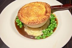 Steak Pie With Mash And Vegetables Stock Photo - Image of ...