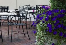 Dining Outdoors. Dining Table and Chairs on an Outside Patio Stock Photography