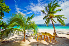 Dining in Paradise. Beach Settings royalty free stock images