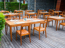 A dining place. An outdoor dining place arranged to host a party Royalty Free Stock Images