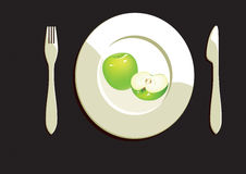 Dining Plate With Apple Royalty Free Stock Photos