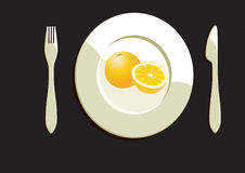 Dining Plate With Orange Stock Images