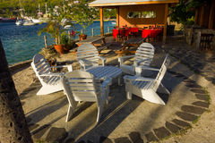 A dining and rest area by the waterfront in the windward islands Stock Photo