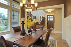 Dining Room. Large dining room with wood floors and area rug Stock Photography