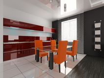 Dining room. Modern interior of a dining room 3D Royalty Free Stock Photos