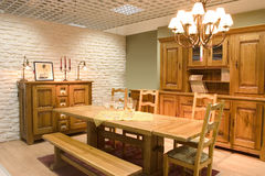 Dining room. Elegnat dining room with wooden furniture stock image
