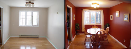 Before and after of dining room stock image