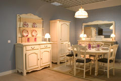 Dining room. Elegnat dining room with wooden furniture stock photo