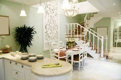Dining room. In a light-colored luxury house. Modern home interior stock image