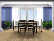 Dining room. Dining table against a window 3d image Stock Image