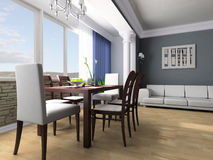 Dining room. Dining table against a window 3d image Royalty Free Stock Image