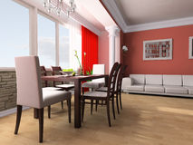 Dining room. Dining table against a window 3d image Stock Photo