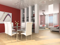 Dining room. Dining table against a wall 3d image Royalty Free Stock Photography