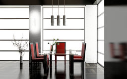 Dining room. Modern interior of a dining room 3D Stock Images