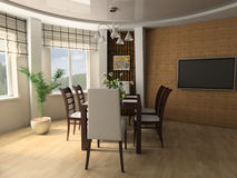 Dining room. Dining table against a window 3d image Stock Photos