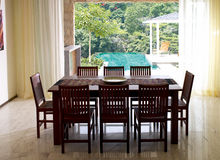 Dining room. With a beautiful view of the nature stock image