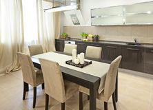 Dining room. Interior shot of a modern dining room Stock Images