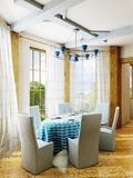 Dining room. 3d rendering of the dining room interior Royalty Free Stock Photos