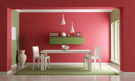 Dining room. Elegant red ang green dining room-rendering Royalty Free Stock Photography