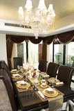 Dining room. In the luxury house with large windows Stock Photo