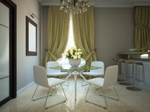 Dining-room. In the modern country-house 3D Royalty Free Stock Images