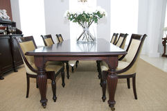 Dining room. Dining table and chairs room Stock Photo