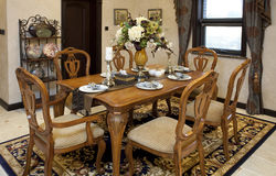 Dining room. A modern white nice house Stock Photography