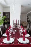Dining room. With festive table setting royalty free stock photos