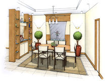 Dining Room. An artist's simple sketch of an interior design of a dining room (design and sketch by submitter Vector Illustration