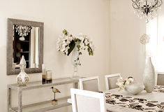 Dining room. White color classic and modern dining room Royalty Free Stock Photos
