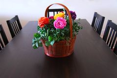 Dining room. With flower basket Royalty Free Stock Photo